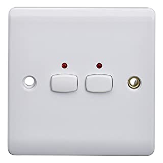 Energenie MIHO009 Alexa Compatible MiHome 2-Gang Light Switch, 240 V, White