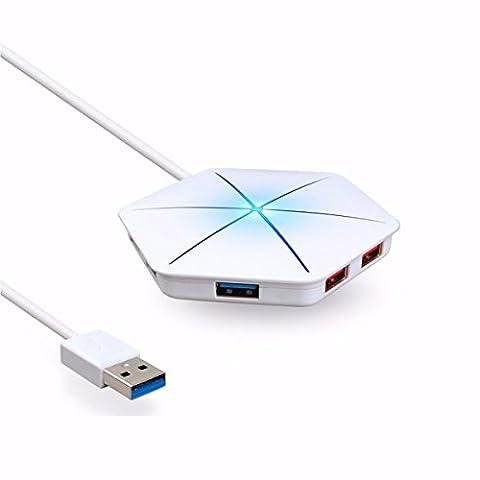 ONCHOICE 6-ports USB Hub Multifunktions Adapter Schneeflocke-Form LED Beleuchtung Mehrfarbige