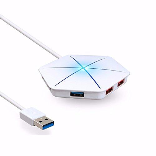 ONCHOICE 6-ports USB Hub Multifunktions Adapter Schneeflocke-Form LED Beleuchtung Mehrfarbige Licht Hub Mit TF/SD Anschluss Kartenleser Card Reader Mikro-aufladenhafen unterstützt für Desktop-PC, Laptops,Notebook OTG+USB2.0