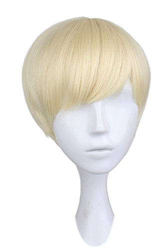 Perücke, kurzes, glattes Kunsthaar, 30 cm, Blond, für Manner und Jungs, Cosplay