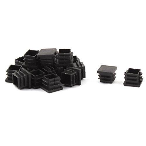 Dealmux Plastique Rectangulaire Pieds de meubles Pieds Blanking Embout Tube Tuyau Insert 30/mm x 15/mm 100/pcs Noir