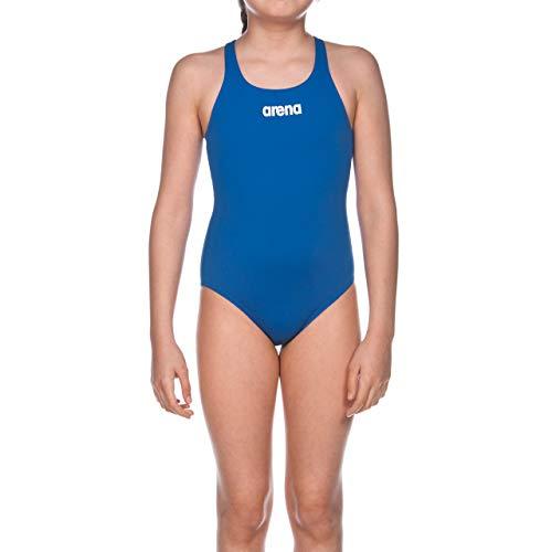 arena Mädchen Trainings Badeanzug Solid Swim Pro (Schnelltrocknend, UV-Schutz UPF 50+, Chlorresistent), Blau (Royal-White), 164