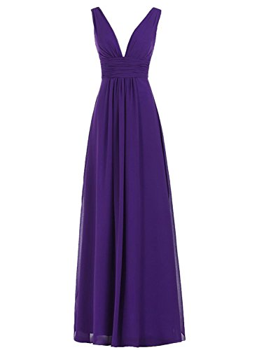 Azbro Women's V-Neck Ruched Waist Long Prom Evening Gown Bridesmaid Dress purple