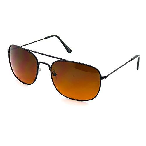 Kiss Sonnenbrille BLUE BLOCKER mod. AIRCRAFT - gelben Gläsern vs. Licht Blau herren damen AVIATORE - SCHWARZ