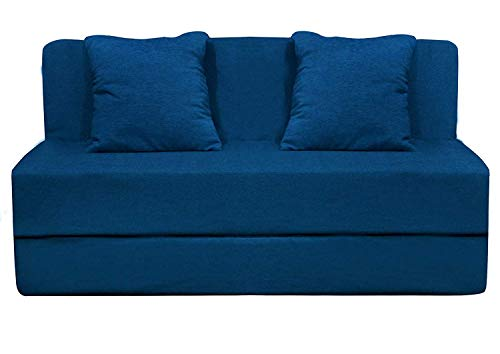 Aart Store High-Density Foam Sofa Cum Bed Furniture One-Seater with 2 Cushion Perfect for Guests, 3x6 ft, Blue