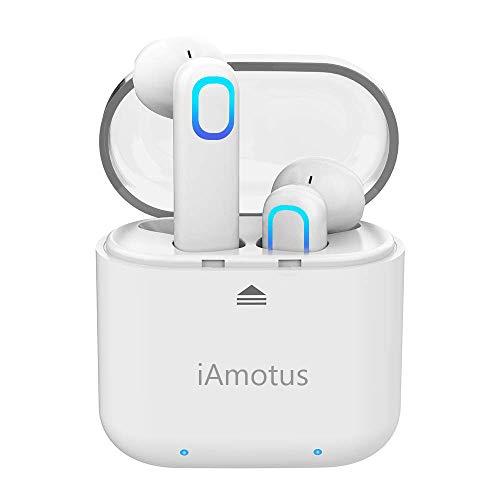 Auriculares Bluetooth Inalámbricos, QueenDer Bluetooth 5.0 Estéreo con Micrófono Auriculares Deportivos Resistentes al Sudor Auriculares con Caja de Carga Portátil para iPhone Samsung Huawei(Blanco)