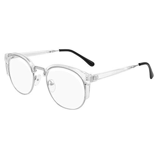 Hibote Katze Auge Brille Rahmen Clear Lens für Männer Frauen Lesung Gläser Dekor Mode Aussenseiter / Nerd Retro Eyewear Clear White