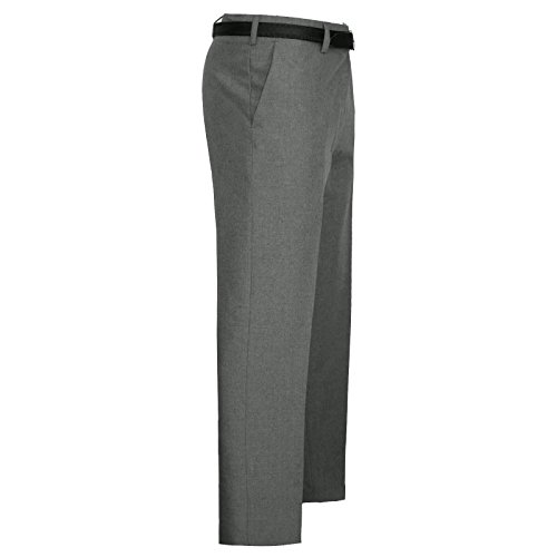 MyShoeStore Mens Formal Trousers Casual Business Office Smart Dress Pants Straight Leg Flat Front Everpress Pockets Plus Free Belt Big King Size 30-50
