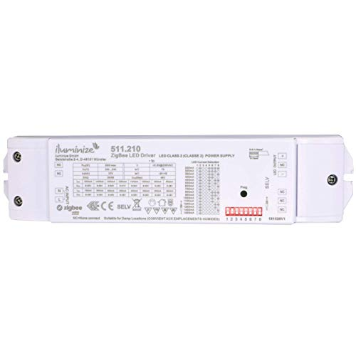 iluminize Zigbee 3.0 Aktor, 50W, dimmen bei Konstantstrom, einstellbar 200mA-1500mA, max. 48V, Anschluss an 230V, Lightlink & Touchlink, geeignet für dimmbare LED-Panele und LED-Spots -
