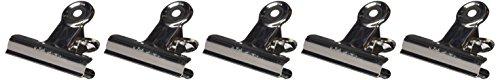 Maul Briefklemmer Metall, Breiter Verschlussclip 70 mm, Klemmweite 40 mm, Hohe Klemmkraft, Silber, 2177096, 5 Stück -