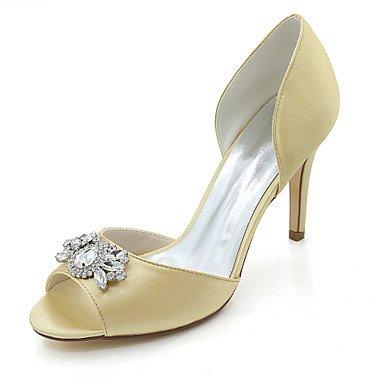Wuyulunbi@ Scarpe donna raso Primavera Estate della pompa base scarpe matrimonio Stiletto Heel Peep toe strass per la festa di nozze & sera un Champagne Oro