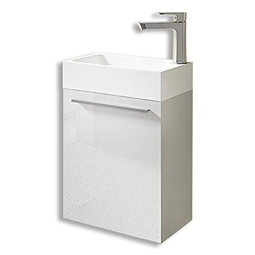 Meuble de salle de bains petite vasque avec meuble sous vasque pour WC séparé Pisa 46x26x63 blanc brillant