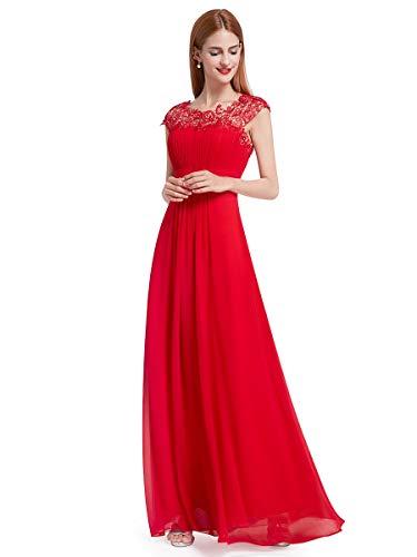 Ever-Pretty Robe de Soirée Demoiselle d'honneur Longue Femme 44 Rouge