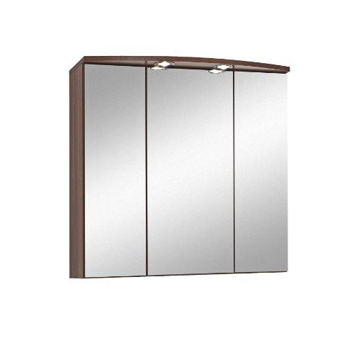 #Held Möbel 174.3055 Next 3D Bogen-Spiegelschrank 3-türig, 6 Einlegeböden, Halogenbeleuchtung, 70x69x20 cm, nussbaumfarben#