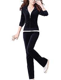 Domorebest Dames Suede Survêtement Hoodie Jogging Costume