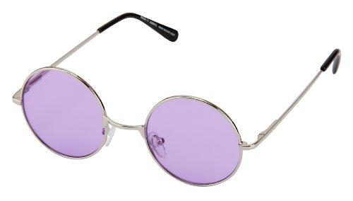 Sonnenbrille Nickelbrille mit runden Gläsern und Federscharnieren retro Art. 8058-11 silber / lila transparent