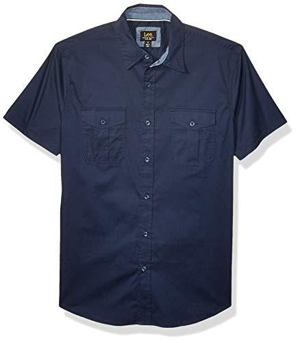 Lee Herren Short Sleeve Dress Shirt Camp Regular Big Tall Button Down Hemd, Micheal Navy, Klein - Big And Tall Men ' S Dress Shirts