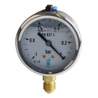 Expert by net - Vacuomètre rond pour le Fioul - -1 à 0 bars diamètre 63mm M1/4 boitier inox à glycérine sans protection