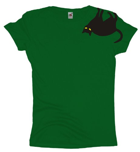 Ma2ca - Big Cat Ärmel Katzen - Damen Girlie T-Shirt Kelly