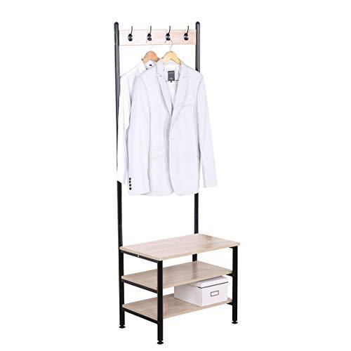 WOLTU SR0063hei Garderobenständer Kleiderständer Wäscheständer Schuhregal mit Sitzfläche, mit 4 Haken, aus Holz und Stahl, Hängeregal, Schwarz + Hell Eiche