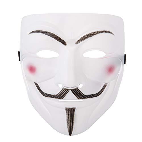 UltraByEasyPeasyStore Ultra Weiß Guy Fawkes Erwachsene Maske Hacker Anonymous V Wie Vendetta Gesichtsmaske Halloween Kostüm mit Elastischem Riemen Guy - Guy Fawkes Kostüm