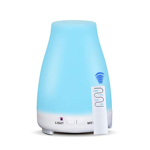 KBAYBO 200ML Fernbedienung Aroma Diffuser Ultrasonic Humidifier Aromatherapy Essential Oil Cool Mist 7 Changing Color LED Lights Waterless Auto Shutdown for Home Yoga Office Spa Baby Room