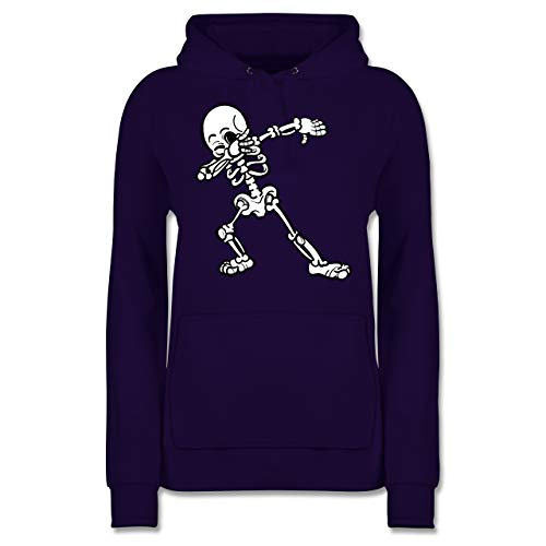 Shirtracer Halloween - Dabbing Skelett - S - Lila - JH001F - Damen Hoodie (Kinder Just Halloween Dance)