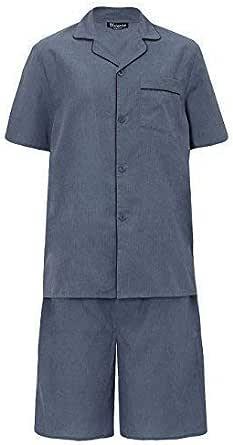 Mens Pyjama Set Short Sleeve Top & Shorts Cool Easy Care