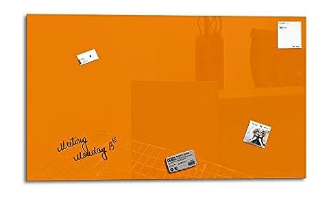 Smart Glass Board ® 100 x 60 cm, Orange, Tableau magnétique en verre / Mémo magnétique / Tableau d'affichage + 3 Aimants + 1 Marqueur + 1 Brosse D'effacage