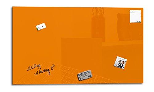 Glas Expert | Smart Glass Board ® | Glas Whiteboard | 100 x 60 cm | Orange | Magnettafel | Memoboard | Magnetwand | + 3 Magnete + 1 Marker