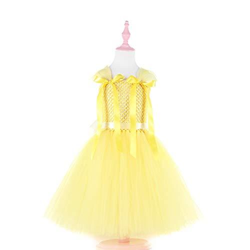 Lyrische Kostüm Stück Zwei - ZONA Elegent Kleinkind Mädchen Kleid, ärmellose Spitze Tüll Prinzessin Kostüm Bowtie knielangen elastischen Prom Holiday Activewear gelb Bezaubernd (Color : Yellow, Size : XXL)