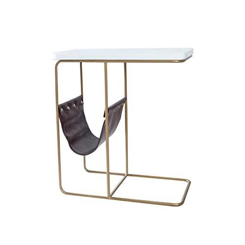 T-Day Beistelltische Nachttisch Tische Couchtisch C-förmiger Schmiedeeisen-Marmor-Kleiner rechteckiger Couchtisch, einfacher Freizeit-Speicher-Ende-Tabellen-Haushalts-Lesetisch -