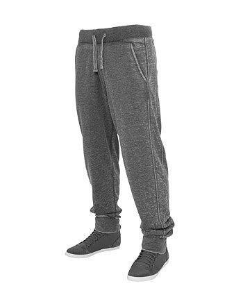 Urban Classics TB476 Burnout Sweat Pants Pantalone Tuta Uomo Regular Fit Dark Grey