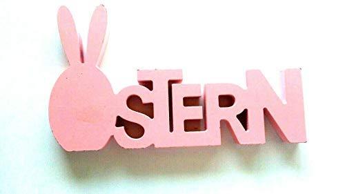 KIK Bunte Holz Figur hell pink für Ostern als Dekoration etc.