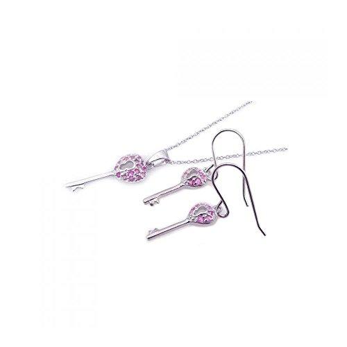 Rhodium beschichtetes Set aus Sterling Silber Kingdom Herz rosa Schlüssel Zirkonia Haken Ohrring & Halskette Set (10k White Gold Rosa Herz Ring)