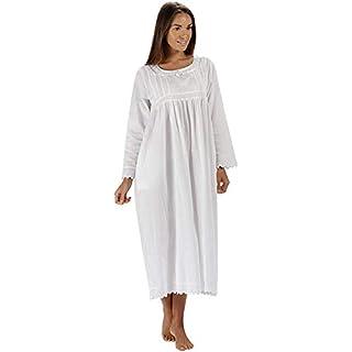 Inconnu The 1 for U 100% Cotton Femmes Robe de Nuit avec Poches Style Victorien BN1 - Blanc Manches Longues - Beth, XL
