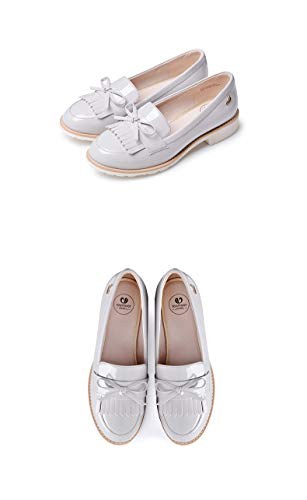 Women es Classic Bow Tassels Slip-On Penny Loafers Low Heel Patent Leder Komfortschuhe,Gray,36 - Patent-penny Loafer