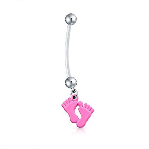 Bling Jewelry Mutter Rosa Füße Baumeln Bar Und Ball Stil Nabel Bauch Ring Aus Silber Ton Chirurgischer Stahl 14 G Für Damen