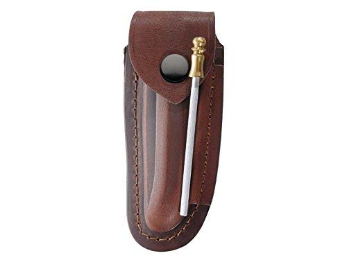 Braunes Leder-Etui, für Laguiole-Messer mit 12 cm Heftlänge, längs und quer tragbar, inkl. Wetzstahl 10 cm