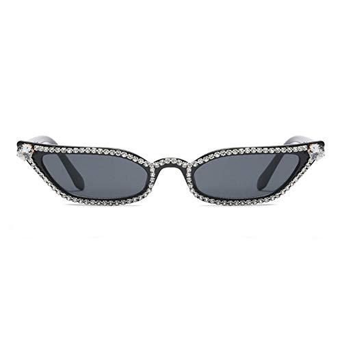 Yuanz Damen Strass Sonnenbrille Cat Eye Damen Schwarz Kleine Sonnenbrille Damen Strandaccessoires Party Uv400