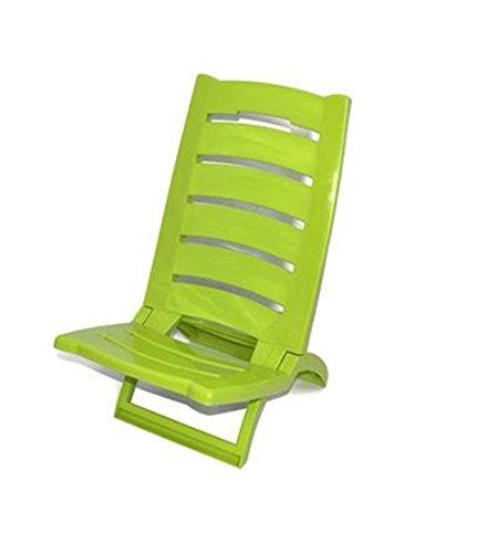Vetrineinrete® spiaggina da mare bassa sedia pieghevole richiudibile portatile da spiaggia piscina campeggio in plastica 60 x 37 cm (verde) x