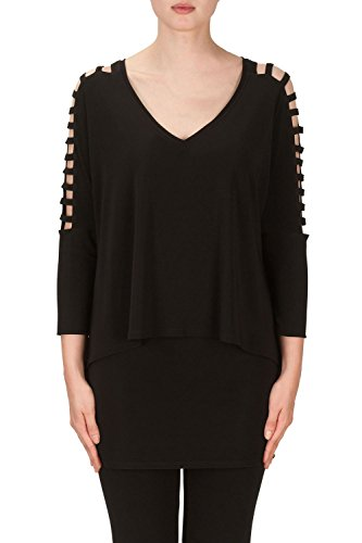 Joseph Ribkoff Black Silky Knit Top With Cutout Sleeve Style 171067