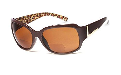 +1.50 Sonnen Lesebrille Braun Äußeres Leopard Innen Sonnenbrille Bifokal 100% UV-Schutz Getönte Gläser Damen Zeitlos + Fall