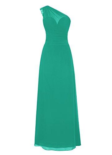 Dresstells, Une épaule robe de soirée mousseline, robe longue de cérémonie, robe longueur ras du sol de demoiselle d'honneur Vert