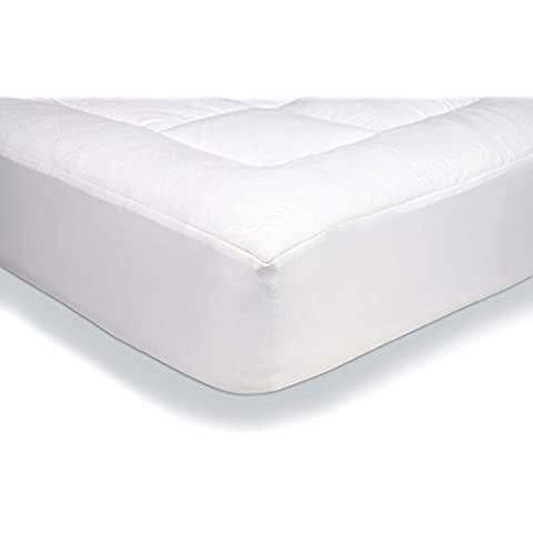 AmazonBasics - Protector de colchón acolchado con tejido micropolar ultrasuave (140 x 190 cm)