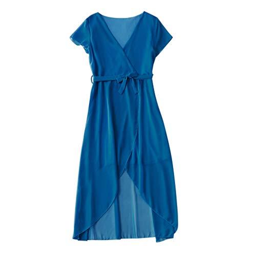 squarex Mommy & Me Damen Kurzarm Kleid Einfarbig Rock Frenulum Unregelmäßiges Kleid Familie Kleidung Kleid (Nette Familie Kostüme Ideen)