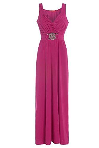 Neue Damen Plus Größe Schnalle Bridesmaid Ball Abend lang Maxi Kleid Gr. 16–22 Kirschrot