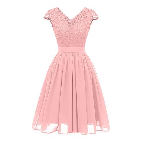 tage Prinzessin Brautjungfernkleid Knielang Spitzenkleid Ärmellos Cocktailkleid Blumenspitze PartySwing Kleid ()