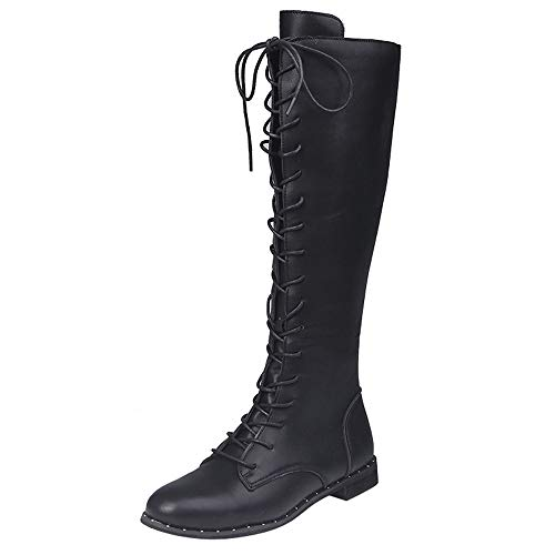 Damen Schnürstiefel aus Leder Runde Toe Kniehohe Schuhe Frauen Flache Martin Stiefel