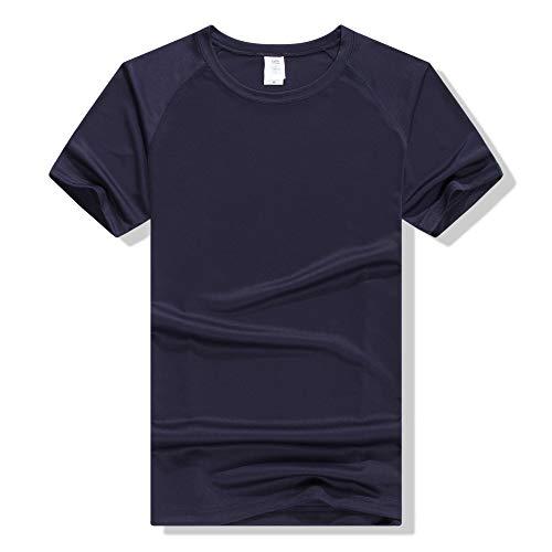 Schnelltrocknendes Kinder-T-Shirt, kurzärmlig, runder Ausschnitt, Student-Marathon-Schnelltrocknende Kleidung, Navy S -